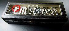 TM WATCH 6 Slot Watch Box Leather Display Case Organizer Top Glass Jewelry