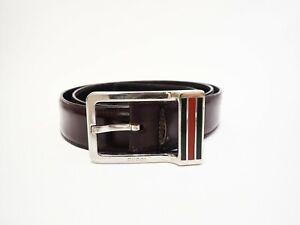 Authentic Gucci Belt Silver Metal Leather Men's Vintage