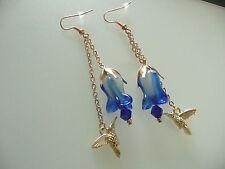 Vintage Deco Style Crystal Hummingbird & Bristol Blue Glass Flower Long Earrings