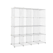 16 Cube DIY Wire Storage Cabinet Display Shelf Bookcase Organiser Plant Stand WH