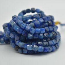 """Natural Kyanite Gemstone Faceted Cube Beads - 3mm - 4mm - 15.5"""" strand"""
