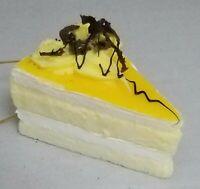 """Yellow Cake Yellow Icing Chocolate Ornament Birthday Dessert Christmas 3"""""""