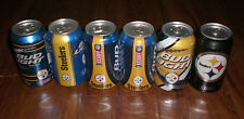 6 PITTSBURGH STEELERS BUD LIGHT BEER CANS 2011 - 2012 - 2013 - 2014 - 2015 2016