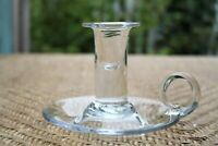 Vintage Hand Blown Clear Glass Candle Holder with Finger Hole Handle
