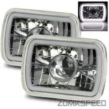 7x6 H6054 Semi-Sealed Chrome Hi-Power White SMD 3D Halo Projector Headlights Kit