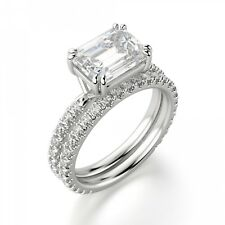 Engagement Ring Set In 14K White Gold Certified 2.85Ct White Emerald Cut Diamond