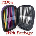 22PCS Crochet Hooks Aluminum Multicolor Knitting Needle Weave Craft Yarn Set~#V