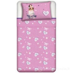 Parure lenzuolo singolo Disney Violetta Rosa 150 x 280cm 100% cotone + federa