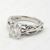 Celtic Trinity Knot Engagement Ring 1.50Ct Round Cut Diamond 14k White Gold