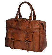 Real Antique Leather Holdall Travel Weekend Cabin Overnight Shoulder Bag Brown