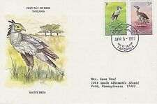TANZANIA 1982 FIRST DAY COVER - SECRETARY BIRD - KORI BUSTARD - NATIVE BIRDS