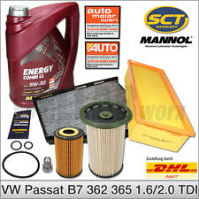 VW Passat B7 362 365 1.6 2.0 TDI | Inspektionspaket Filterset 5L 5W-30 MANNOL Öl