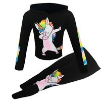 Girls Unicorn Rainbow Dab Outfit Top Leggings Tracksuit Xmas Set Black Age 5-13