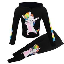 New Girls Kids Dabbing Unicorn Outfit Top Leggings Black Age 5 6 7 8 9 10 11 12