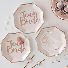 TEAM BRIDE HEN PARTY PLATES 8 x Hen Party Plates Rose Gold and Pink