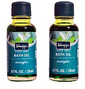 Duo (2) Kneipp EUCALYPTUS Mini Bath Oils NEW Travel Size 0.67 fl.oz ea