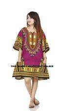 Dashiki African Mexican Poncho Tribal Shirt Blouse Cotton Unisex Purple Top
