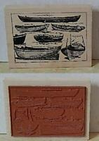 X-Large Row Boats Collage Frame LOVE TO STAMP Mounted on Wood Rubber Stamp