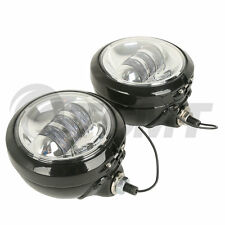"4-1/2"" LED Auxiliary Spot Fog Passing Light Housing Bucket For Harley Motorcycle"