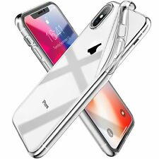 For iPhone XS Clear Gel Case Cover & Nano Shield Tempered Glass Screen Protector