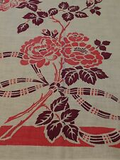 Vintage 1950's Printed Linen Tablecloth, Plum Leaves Pink Flowers Ribbons & Bows