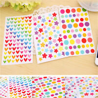 6 Sheets/Set Dot Star Love Shape Stickers For School Children Teacher Reward DIY