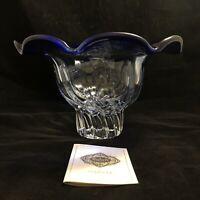 "Godinger Shannon Crystal Centerpiece Fruit Bowl 10.5"" Cobalt Blue & Clear"
