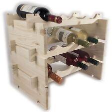 Modular 3 Tier Wooden Wine Rack Storage Holder / 12 Bottle / Natural Pine Craf