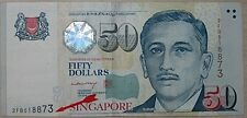 """Singapore Portrait Series $50 With Shifting Error """"518873"""""""