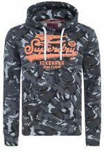 Superdry Hombre Core Logo Rayas Sudadera con Capucha Jersey Camuflaje Top Negro
