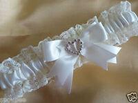 WEDDING GARTER IVORY CREAM SATIN & LACE DIAMANTES HEART bridal shower gift bride
