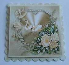 PK 2 SWAN HAPPY ANNIVERSARY EMBELLISHMENT TOPPERS FOR CARDS OR CRAFTS