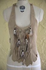 Vtg 60s 70s Tan Suede Leather Halter Top Fringe Feather Boho Hippie Festival S