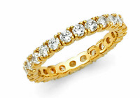 14k Yellow Gold Eternity Band Stackable Ring Round Cut Endless Wedding Band