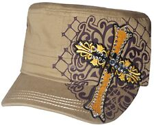 Women's Cadet Hat Rhinestone Yellow Embroidered Cross New Design Hat Cap Khaki