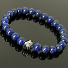 Men's Women Lapis Lazuli 925 Sterling Silver Bracelet with Cross Bead DIY-K 302