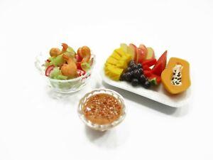 Dollhouse Miniatures Food 1:12 Shrimp Salad Vegetable Mixed Fruit Plate 13929