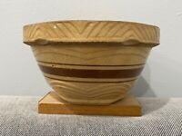 Vintage Yellow Glazed Brown Stripe Stoneware Pottery Kitchen Mixing Nesting Bowl