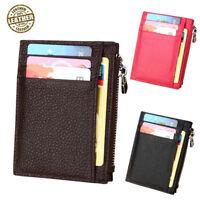 Mens Slim Wallet RFID Front Pocket Minimalist Thin Leather Credit Card Holder UK