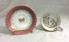 Vintage Tea CUP & SAUCER AYNSLEY COTTAGE GARDEN with BUTTERFLIES, Rose GOLD