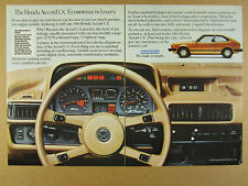 1980 Honda Accord LX car interior dashboard panel color photo vintage print Ad