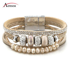Fashion Women Bohemia Multilayer Leather Ceramic Rhinestone Beads Charm Bracelet
