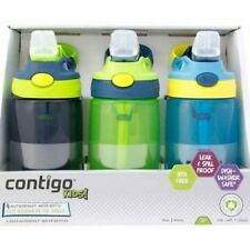 Contigo 14 oz Kids Gizmo AutoSpout Water Bottle 3 Pack BPA FREE Navy,Green,Blue