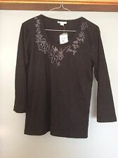 Ladies Stretch Top 3/4 sleeves Black Size M Rockmans Stretch Polyester BNWT