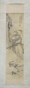 """JAPANESE HANGING SCROLL ART Painting """"Kannon on Cliff"""" Asian antique  #E4421"""