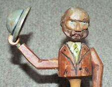 More details for vintage anri man tipping hat and bowing head wooden mechanical bottle stopper