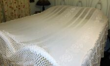 Vintage Crocheted White Roses Bedspread, Coverlet, Throw, Full Size Bedspread