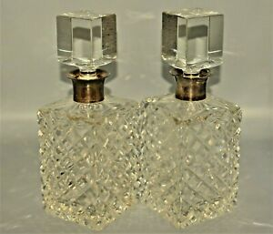 Original Antique Baccarat PAIR Sterling Silver Crystal Cut Glass Decanters Set