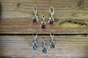 925 Silver Amber Grapes Earrings and Pendant Set UK Seller