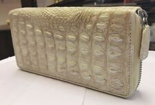 GENUINE CROCODILE WALLETS SKIN LEATHER BONE ZIPPER WOMEN'S WHITE CLUTCH BAGS